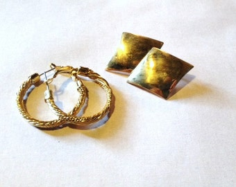 Vintage - 2 Pairs of Retro Golden Earrings - Diamond Shaped and Twisted Hoops