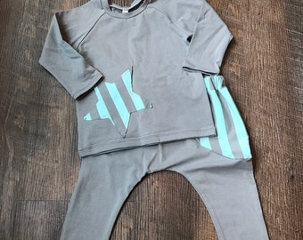 ON SALE! Organic boy baby outfit w/ hat/organic baby boy clothes/children clothing/baby apparel