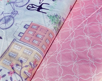 Pink Cotton Fabric, Paris Street or Mini Geometric Pink Cotton Fabric