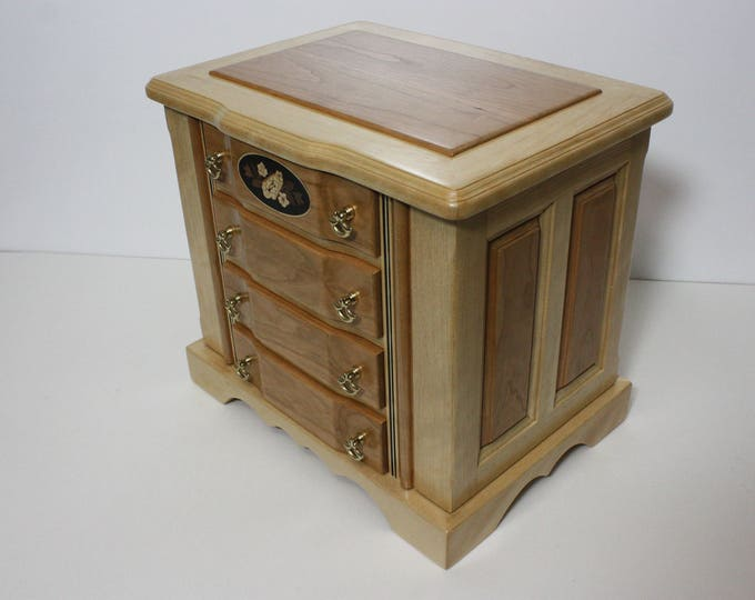 Large Handmade 4 Drawer Birch and Cherry Wood Jewelry Box with Swing Out Sides for Necklaces and Earrings. Ring Box, Adjustable Dividers