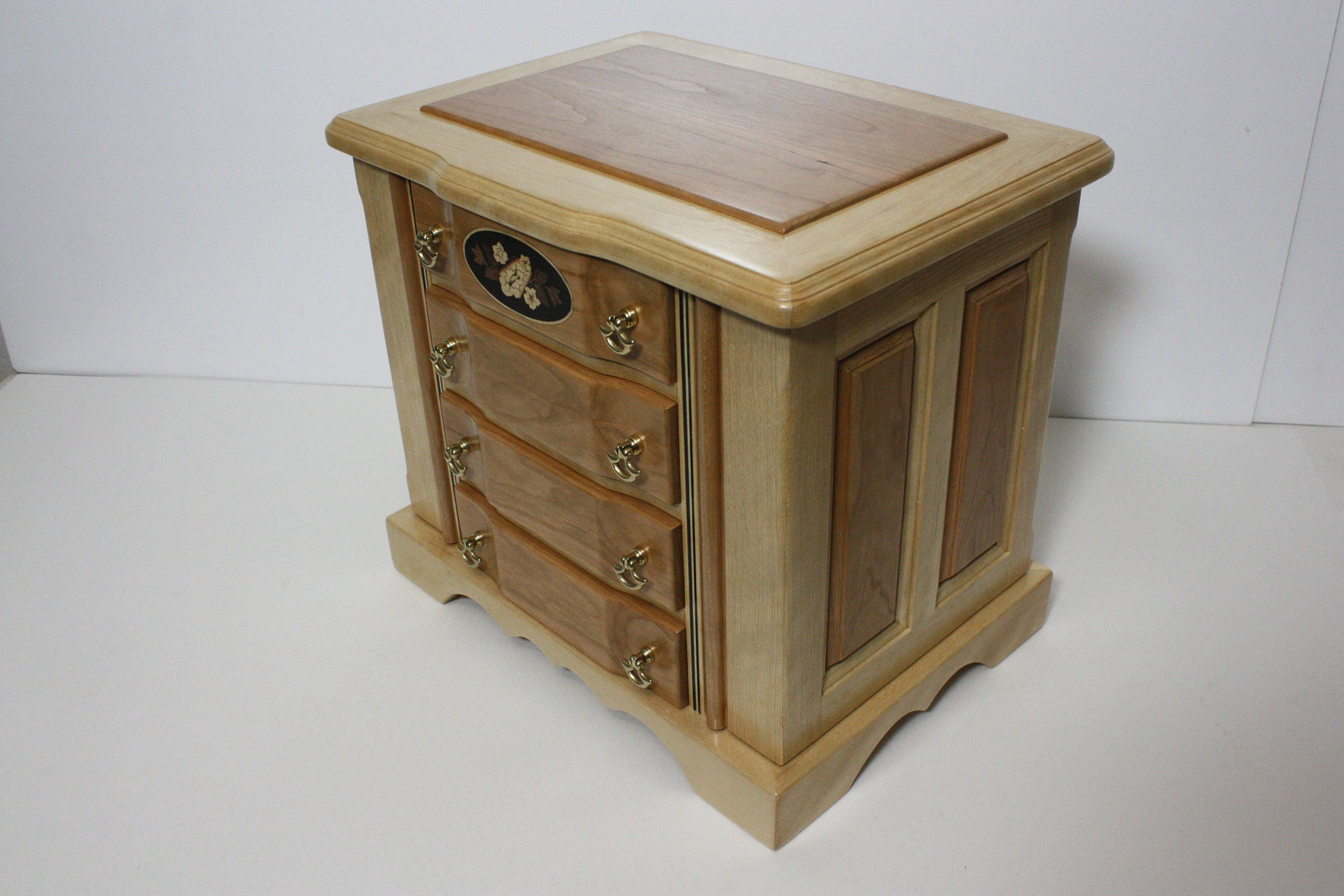 Large Handmade 4 Drawer Birch and Cherry Wood Jewelry Box with Swing