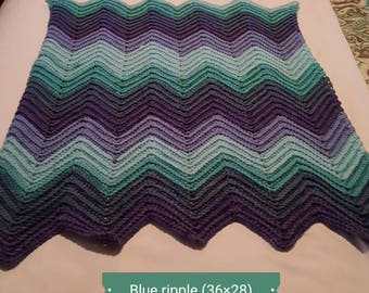 Blue ripple baby blanket set  (36×28)