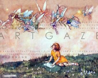 SWEET Little GIRL Reads Among FAIRIES. Vintage Fairy Tale Illustration. Digital Reading Download Vintage Fairy Art