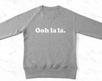 Ladies sweater etsy ooh la la ladies sweater organic cotton ladies jumper grey trouble graphic publicscrutiny Image collections