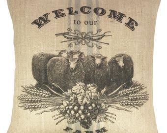 Sheep Farm Throw Pillow, Grain Sack Burlap Pillow, Farmhouse Accent
