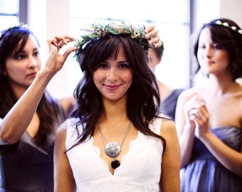 Greek Stefana Flower crown leafy Greenery Headdress Foliage set of 2 ribbon joined wedding accessories bridal halo vine fairy hair wreath