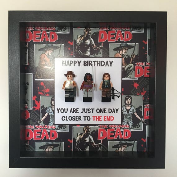 """The Walking Dead """"You Are Just One Day Closer To The End"""" 3PC Minifigure Frame"""