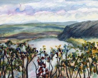 """Around the Bend on the Delaware,  10x14"""" original watercolor painting, Pamela Parsons, Delaware River painting, Paintings of Bucks County"""