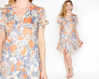 60s Floral Mini Dress | Orange Purple Whimsical Mod Print Dress | Small