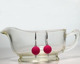 Pink Earrings -Pink Glass Bead -Silver Earrings -Beaded Earrings -Handmade Jewellery -Pink Jewellery -Gift for Her -Glass Earrings -UK Shop