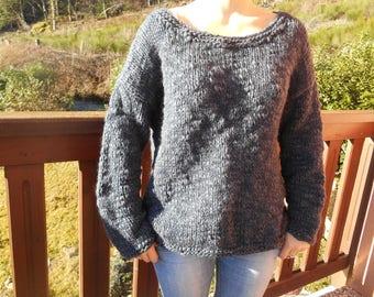 Midnight blue wool blend sweater.