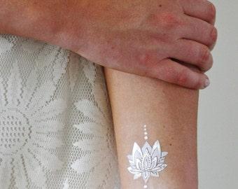 Silver and white lotus temporary tattoo / boho temporary tattoo / lotus tattoo / white tattoo / flash tattoo / festival tattoo
