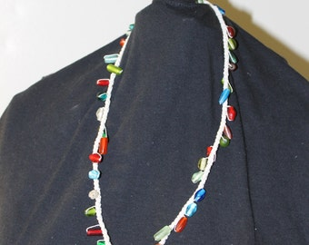 Bright colored glass Crochet Necklace