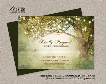 Printable Woodland Rsvp Card Or Postcard With String Lights For Enchanted Forest, Tree Themed Wedding, Prom Night, Party Or Event