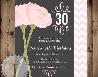 Peonies birthday invitation, chevron birthday invitation, elegant, adult birthday, 30th birthday, 40th, 21st birthday, party invitation