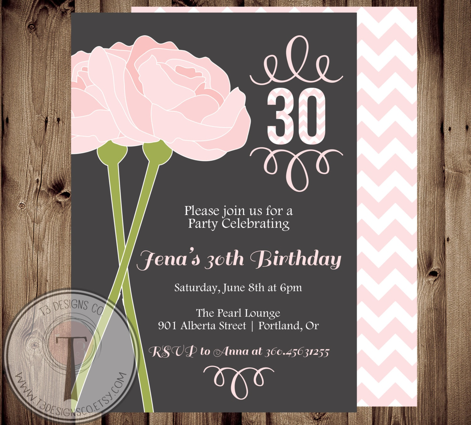 Peonies birthday invitation, chevron birthday invitation, elegant ...