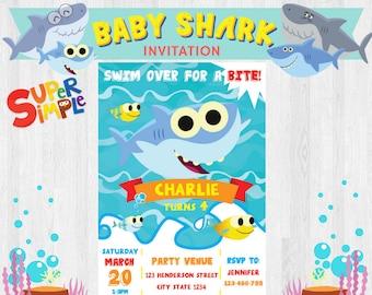 Shark invitation etsy super simple songs baby shark editable birthday party invitation invites printable filmwisefo