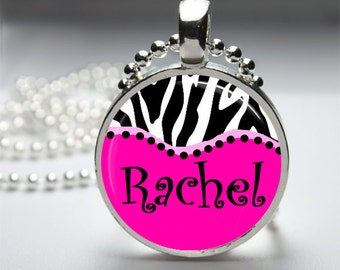 Personalized NAME-Zebra Print and Pink Glass Dome Pendant Necklace