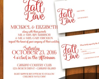 Formal Wedding Invitation / Wedding Invitation / Fall Into Love / Simple wedding invitation / Digital Wedding Invitation