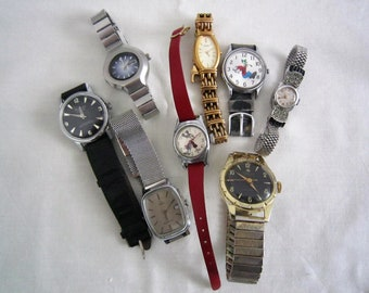 Lot of eight vintage watches for spare parts(1940-1980)