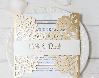 Laser Cut Invitation with Belly Band