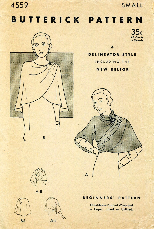 1930er Jahren 30er Jahre Vintage Schnittmuster Umhang Schal