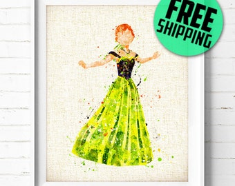 FREE SHIPPING- Disney, Princess art print, Anna, Frozen, poster, watercolor, painting, wall art, nursery gift, kids room, home decor 499