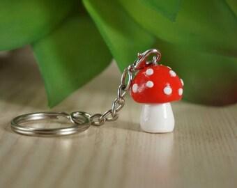 Lucky mushroom as key fob-from Fimo-Polymer clay-lucky mushroom-fly mushroom, mother's Day