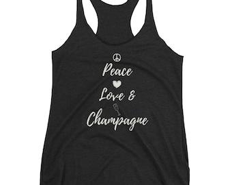 Peace, Love, Champagne-Women's Racerback Tank