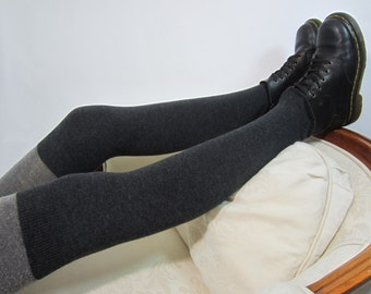 Gray Cashmere Over the Knee Socks Thigh Highs Leg Warmers Boot Sock Charcoal Grey Cotton Blend A928