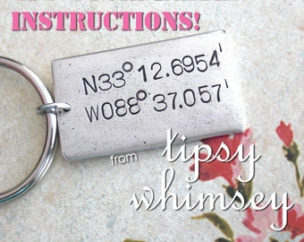 GPS INSTRUCTIONS .. Help from Tipsy Whimsey to locate your Latitude & Longitude on the globe (for beautiful planet Earth) .. Or Buy Keychain