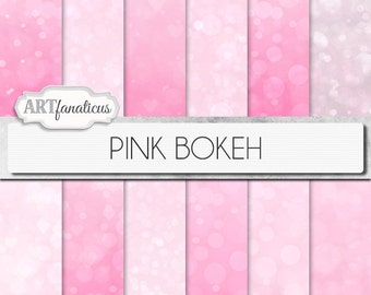 """Bokeh digital papers """"PINK BOKEH"""" pink background featuring bokeh for scrapbookers, photography marketing materials, invitations, albums"""