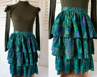 Vibrant First Wool Vintage Skirt - 80s Emerald green and blue print ruffled skirt.