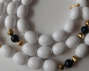Vintage Monet Necklace Beaded Monet Single Strand Necklace Vintage Jewelry Costume Jewelry White Blue Necklace Monet 1980's Beaded Necklace