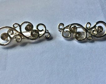 Vintage Barrettes / Silver Tone Hair Clips with Clear Rhinestones.