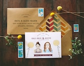 Rustic Mountain Custom Watercolor Save the Date: Couple Illustration