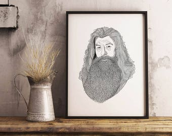 Gandalf The Grey, Gandalf, Mithrandir, LOTR, Lord of the Rings, Gandalf Print, Gandalf Portrait, Gandalf Poster, LOTR Print, LOTR Art,
