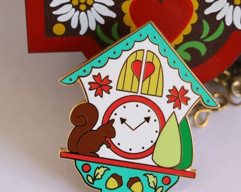 enamel pin, cuckoo clock enamel pin, hard enamel pin, kawaii enamel pin, enamel pin set, lapel pin, cute enamel pin, cuckoo clock, GREEN