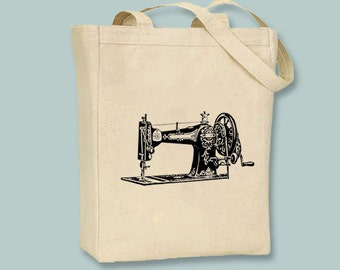 Beautiful Vintage Sewing Machine illustration on  Canvas Tote -- Selection of sizes available