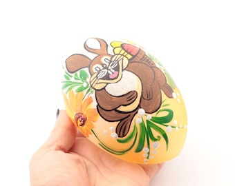 Czech hand blown hand painted bunny rabbit glass egg Easter ornament bauble decoration SKU 451