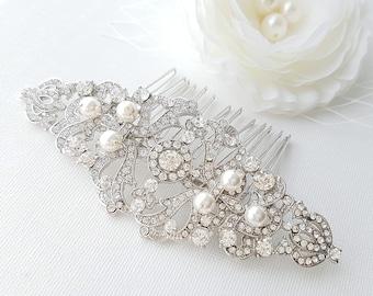 Crystal Bridal Hair Comb, Wedding Hair Comb, Vintage Style, Bridal Hair Piece, Pearl Crystal Hair Comb, Bridal Hair Accessories, Jade