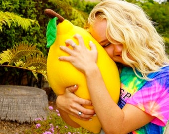 Giant Lemon Pillow - Large Fruit Cushion for Cool living Rooms