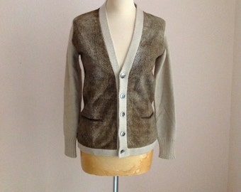 Borbonese Cream Suede Wool Sweater Cardigan Small Medium