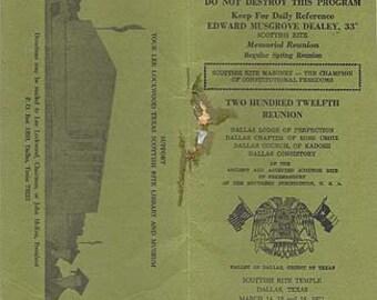 Vintage 1971 Dallas, Texas Scottish Rite Temple 212th Reunion Booklet Freemason
