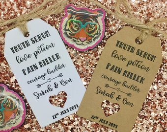 "Wedding ALCOHOL Favour Gift Tag ""Drink me"" Bottle Guest Label Kraft, Love Serum"