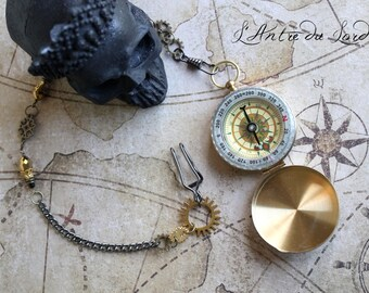 Compass Steampunk Pirate way functional pocket watch