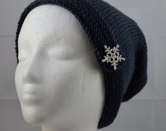 Rhinestone Snowflake, Charcoal Gray Slouch, Snowflake Button Brim Hat, Hand Knit Beanie, Knitted Gray Hat, Knit Wool Hat, Warm Winter Hat