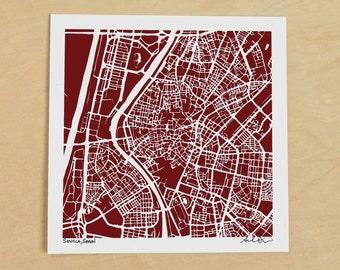 Sevilla Map, Hand-Drawn Map Print of Sevilla, Spain