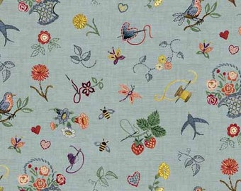 EMBROIDERY GARDEN Blue Sewing Tools Quilt Fabric - by the Yard, Half Yard, or Fat Quarter Fq Haberdashery by Makower UK