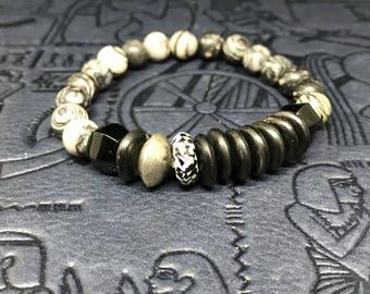 Mali Silver, African Trade Bead, and Jasper Bracelet